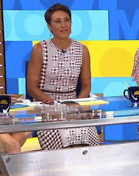 Robin's red houndstooth knit dress on Good Morning America
