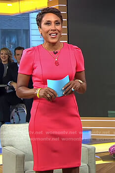 Robin's pink puff shoulder sheath dress on Good Morning America