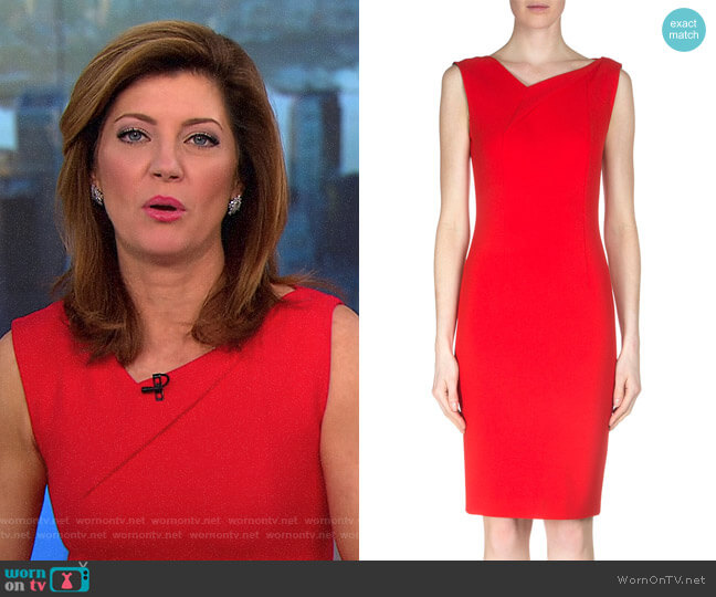 'Grainger' Crepe Sheath Dress by Roland Mouret worn by Norah O'Donnell on CBS This Morning