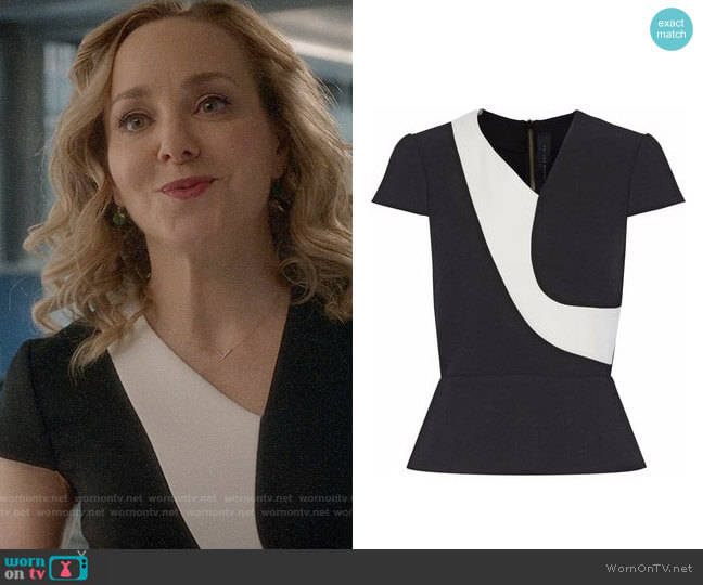 Roland Mouret Two Tone Top worn by Marissa Morgan (Geneva Carr) on Bull