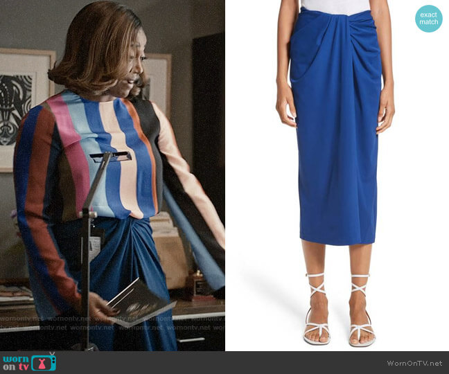 Rosetta Getty Jersey Twist Front Midi Skirt worn by Daisy Grant (Patina Miller) on Madam Secretary