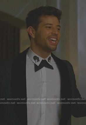 Sam's white embroidered cheetah collar shirt on Dynasty