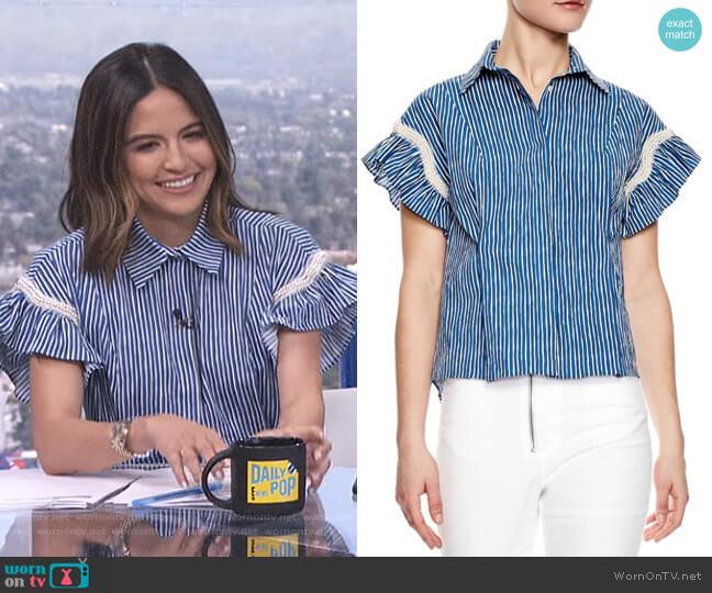 'Erine' Striped Shirt by Sandro worn by Erin Lim on E! News