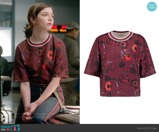 Sandro Ribbed Knit-Trimmed Printed Scuba-Knit Top worn by Cable McCrory (Annabelle Attanasio) on Bull