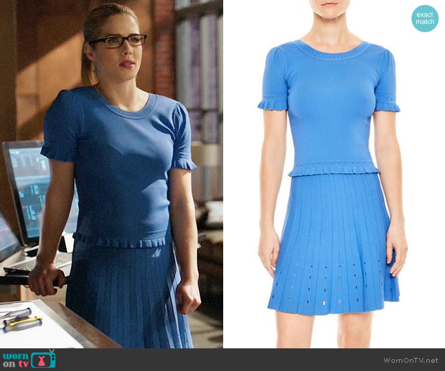 Sandro Quincy Top and Izzy Skirt worn by Emily Bett Rickards on Arrow