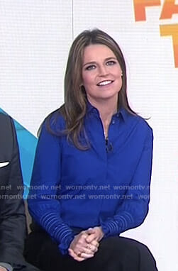 Savannah's blue smocked cuff blouse on Today