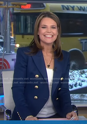 Savannah's blue blazer with gold buttons on Today