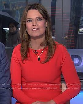 Savannah's red diamond laser-cut hem dress on Today