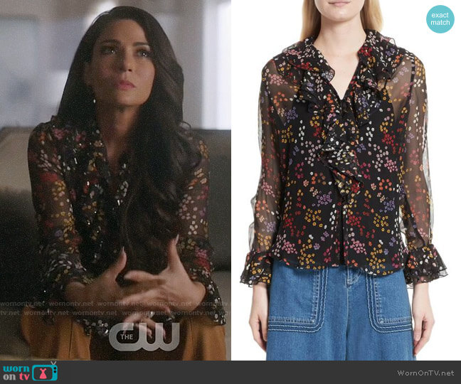 See by Chloe Floral Silk Blouse worn by Hermione Lodge (Marisol Nichols) on Riverdale