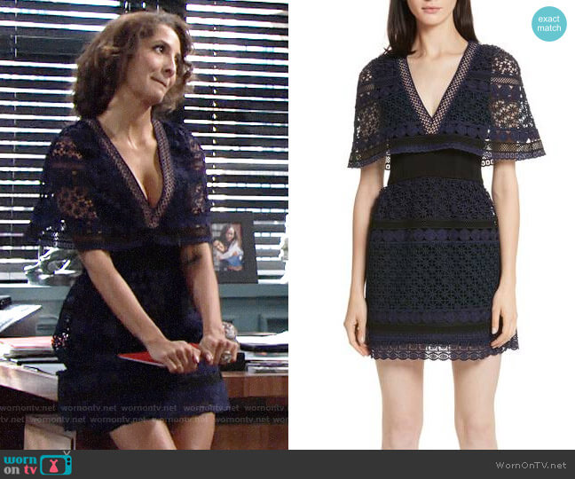 Self Portrait Guipure Lace Cape Dress worn by Christel Khalil on The Young & the Restless