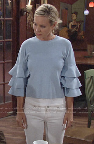 Sharon's blue sweater with ruffled sleeves on The Young and the Restless