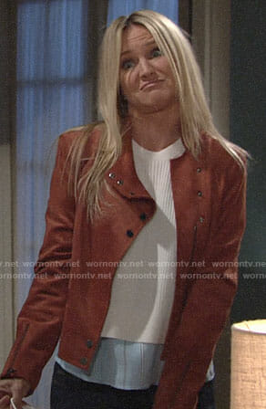 Sharon's tan suede jacket on The Young and the Restless