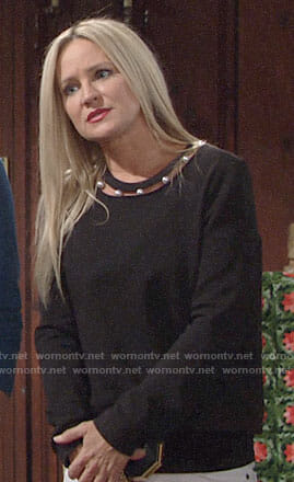 Sharon's black pearl embellished sweatshirt on The Young and the Restless
