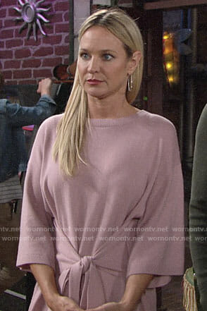 Sharon's pink tie-waist sweater dress on The Young and the Restless