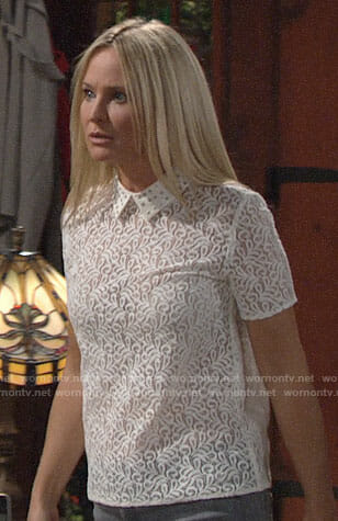 Sharon's white lace top with studded collar on The Young and the Restless