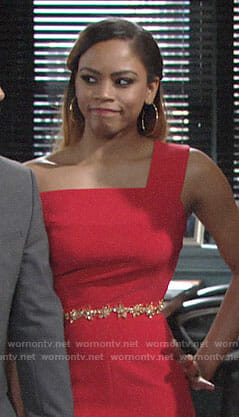 Simone's red one-shoulder jumpsuit on The Young and the Restless