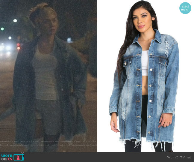 Stone Washed Oversized Distressed Denim Jacket by Soho Girl worn by Jude Demorest on Star