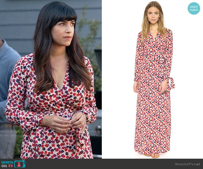 Sonia by Sonia Rykiel Floral Wrap Dress worn by Hannah Simone on New Girl