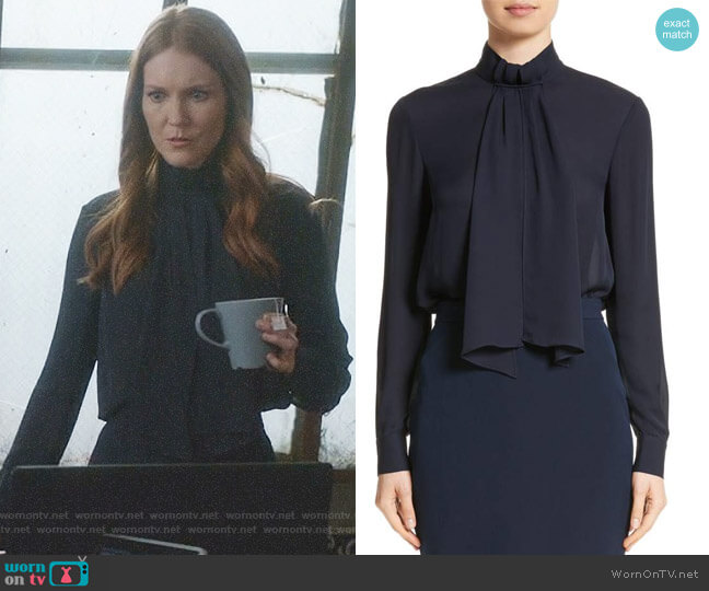 Scarf Neck Tie Blouson Sleeve Blouse by St John Collection worn by Abby Whelan (Darby Stanchfield) on Scandal