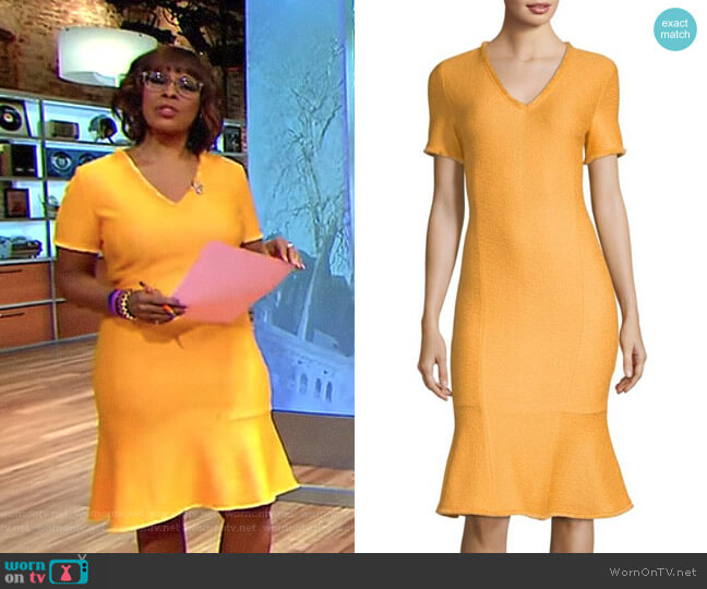 'Caris' Dress by St. John Collection worn by Gayle King on CBS This Morning