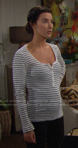 Steffy's striped henley tee on The Bold and the Beautiful