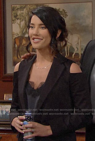 Steffy's black lace trim top and cold-shoulder blazer on The Bold and the Beautiful