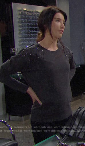 Steffy's sweatshirt with embellished shoulders on The Bold and the Beautiful