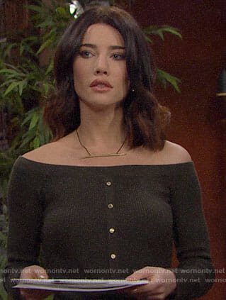 Steffy's off-shoulder buttoned front dress on The Bold and the Beautiful