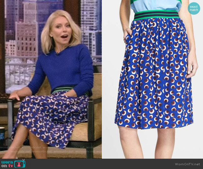 Floral Print Silk Skirt by Stella McCartney worn by Kelly Ripa on Live with Kelly & Ryan