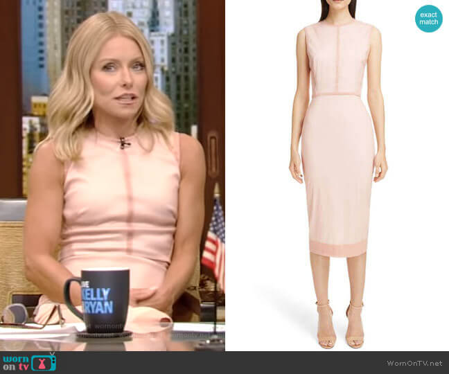 Stretch Silk Organza Sheath Dress by Victoria Beckham worn by Kelly Ripa (Kelly Ripa) on Live with Kelly & Ryan