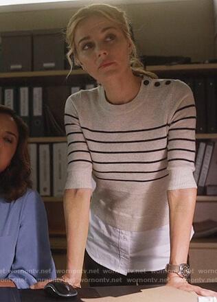Lizzie's striped layered sweater on Instinct
