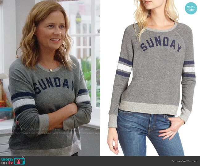 Sundry Sunday Funday Sweatshirt worn by Lena (Jenna Fischer) on Splitting Up Together