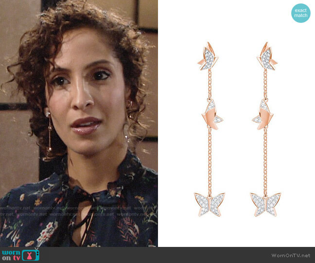 Swarovski Lilia Earrings worn by Christel Khalil on The Young & the Restless