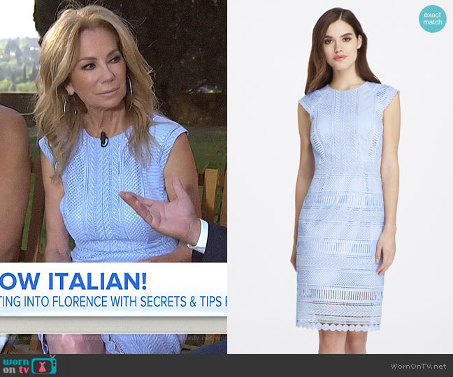 Chemical Lace Pegged Sheath Dress by Tahari ASL worn by Kathie Lee Gifford (Kathie Lee Gifford) on Today