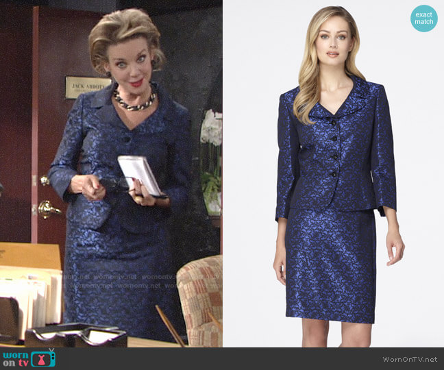 Tahari ASL Jacquard Skirt Suit  worn by Gloria Abbott Bardwell (Judith Chapman) on The Young & the Restless
