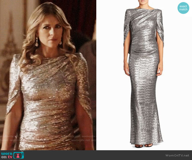 Talbot Runhof Sequin Cape Gown worn by Queen Helena (Elizabeth Hurley) on The Royals