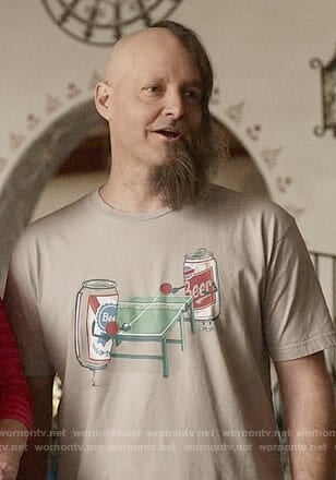 Tandy's beer pong t-shirt on Last Man on Earth