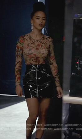 Tiana's tattoo print bodysuit and latex mini skirt on Empire