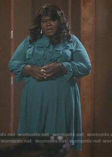 Becky's teal front ruffle long sleeve dress on Empire