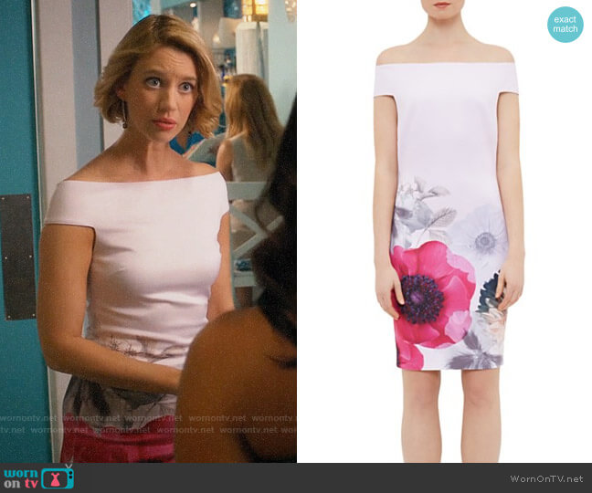 Ted Baker Wiyea Neon Poppy Off-the-Shoulder Dress worn by Yael Grobglas on Jane the Virgin