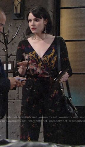 Tessa's black floral jumpsuit on The Young and the Restless