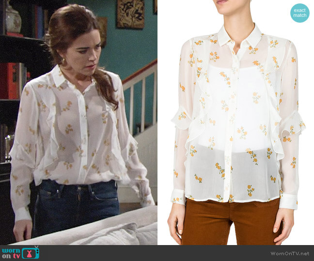 The Kooples Popcorn Floral Shirt worn by Victoria Newman (Amelia Heinle) on The Young & the Restless