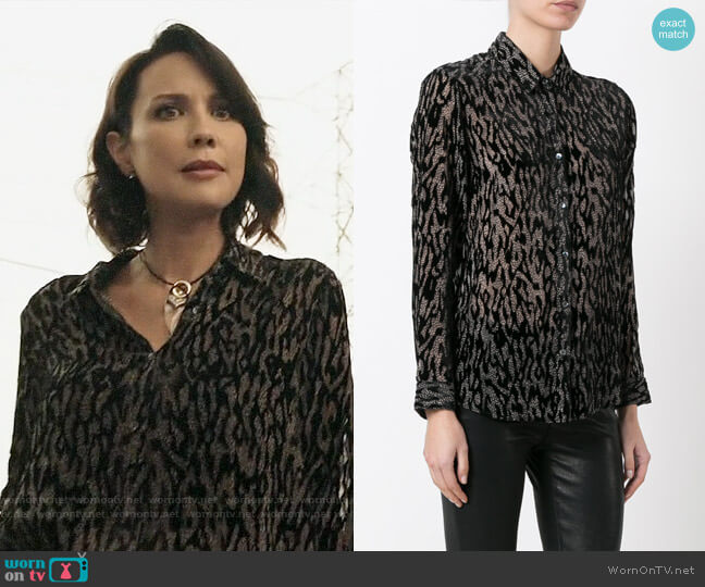 The Kooples Sheer Animal Print Blouse worn by Lexa Doig on The Arrangement