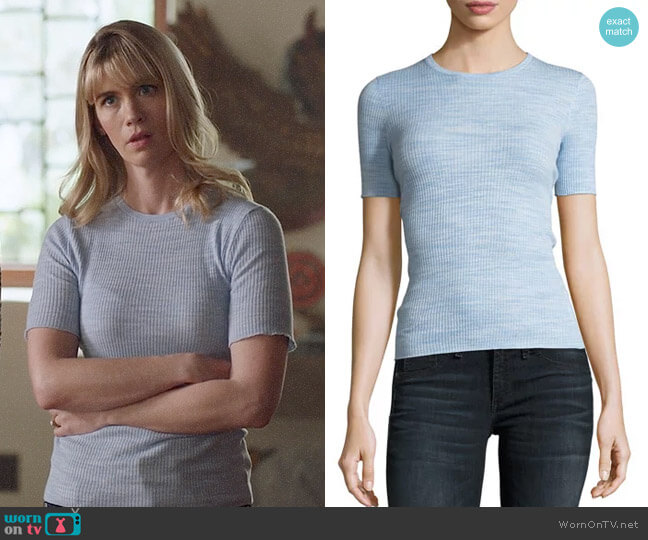 Theory Crewneck Fitted Refine Merino Wool Top worn by Melissa Shart (January Jones) on Last Man On Earth