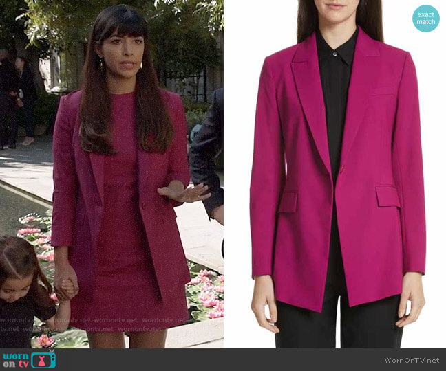 Theory Etienette Blazer worn by Hannah Simone on New Girl