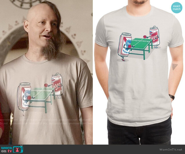 Threadless Beer Pong T-shirt worn by Will Forte on Last Man On Earth