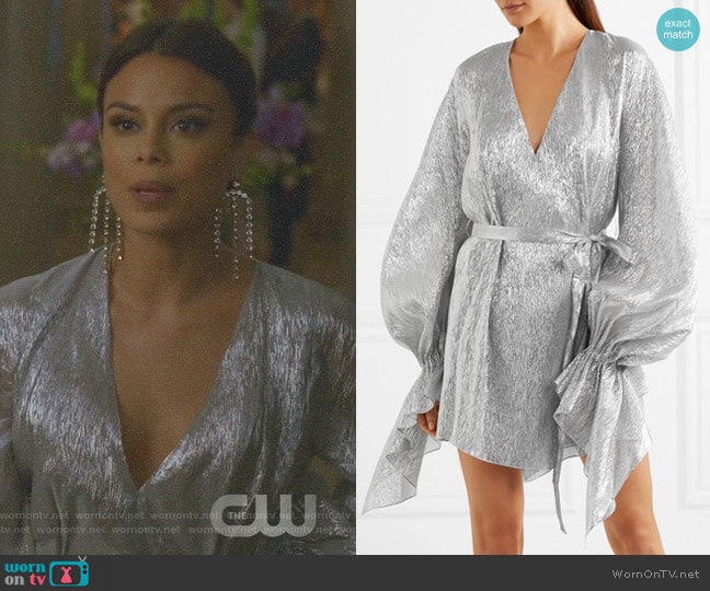 'Hamberg' Metallic Mini Dress by Roland Mouret worn by Nathalie Kelley on Dynasty