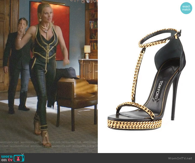 Curb-Chain Platform Sandal by Tom Ford worn by Alexis Carrington (Elaine Hendrix) on Dynasty