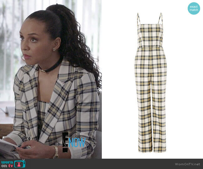 Topshop Checked Bustier Jumpsuit worn by Carra Patterson on The Arrangement