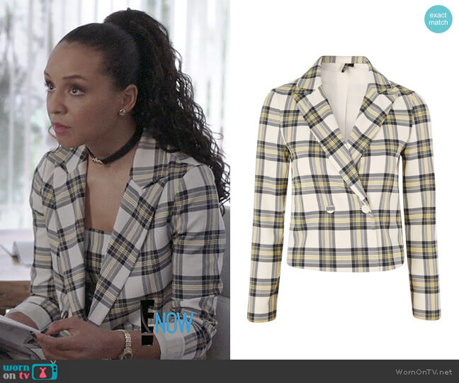 Topshop Checked Crop Jacket worn by Carra Patterson on The Arrangement